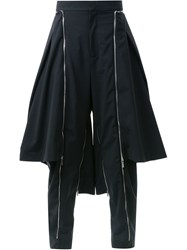 Fengchen Wang Side Zip Layered Trousers Black