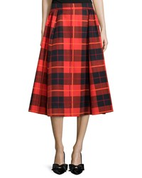 Kate Spade Pleated Plaid Midi Skirt Fairytale Red
