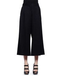 Alexander Mcqueen Cropped Wool Culottes Black