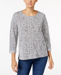 Styleandco. Style Co. Jacquard Cuffed Sleeve Top Only At Macy's Deep Black