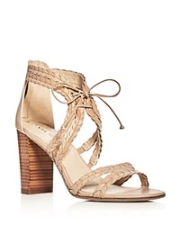 Via Spiga Gardenia Lace Up High Heel Sandals Nude