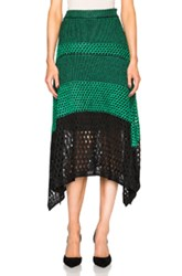 Proenza Schouler Open Stitch Handkerchief Hem Mid Skirt In Green Black