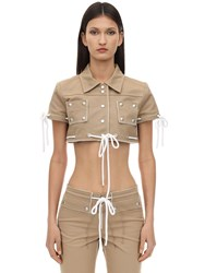 Courreges Cropped Cotton Jacket W Studs Camel