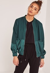 Missguided Satin Two Tone Bomber Jacket Green Khaki