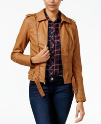 Celebrity Pink Faux Leather Zipper Trim Jacket Cognac