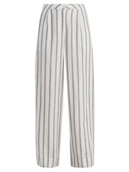 Thierry Colson Biarritz Spugna Wide Leg Striped Trousers Blue Stripe
