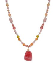 Anne Klein Candy Stone Pendant Necklace Pink
