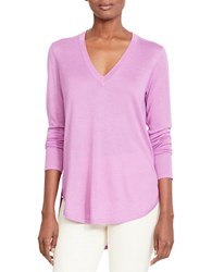 Lauren Ralph Lauren Silk Blend V Neck Sweater Pure Lilac