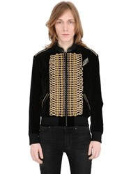 Saint Laurent Military Style Velvet Teddy Jacket