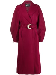 Just Cavalli Long Belted Coat Red
