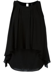 Plein Sud Jeanius Pleated Layered Blouse Black