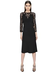 Ermanno Scervino Long Sleeved Cady Stretch And Lace Dress