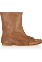 Tomas Maier Fringed Leather Ankle Boots Brown