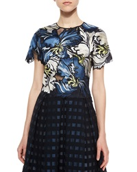 Erdem Emiko Embroidered Matelasse Crop Top