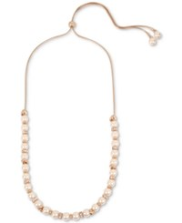 Kenneth Cole New York Rose Gold Tone Imitation Pearl And Crystal Adjustable Slider Necklace Blush