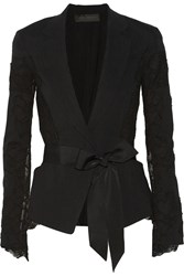 Donna Karan Belted Linen Blend And Lace Blazer Black