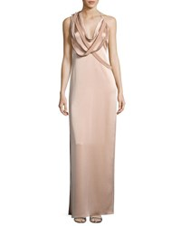 Halston Strappy Satin Slip Gown Cream Beige