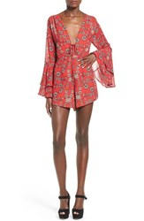 Women's For Love And Lemons 'Pia' Floral Print Romper Red