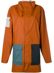 Rains Pocket Raincoat Men Polyester Polyurethane Xs Yellow Orange