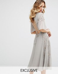 Maya Embellished Midi Dress With Fluted Sleeve With Lace Up Back Grey