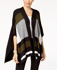 Alfani Colorblocked Cape Cardigan Created For Macy's Moss Bold Geo Br