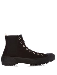Burberry Owen Tread Sole Canvas Boots Black Multi