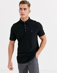 Ted Baker Short Sleeve Polo With Waffle Knit In Black