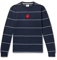 Noah Logo Embroidered Striped Cotton Jersey T Shirt Navy