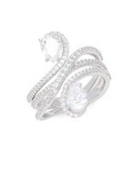 Nadri Faceted Cubic Zirconia Banded Ring Silver