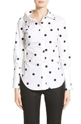 Monse Women's Polka Dot Stretch Cotton Top White Black