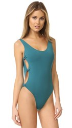 Red Carter Reversible Knot Side Swimsuit Laguna Apricot