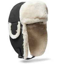 Canada Goose Shearling Trimmed Shell Trapper Hat Black