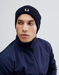 Fred Perry Merino Logo Wool Beanie In Navy
