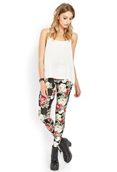 Forever 21 Blooming Rose Leggings Black Red