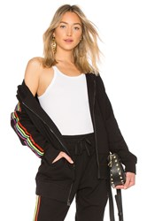 Baja East Be Stripe Zip Hoodie Black