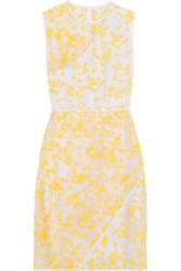 Carven Embroidered Organza Dress Yellow