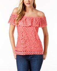 Maison Jules Off The Shoulder Top Created For Macy's Coral Sand