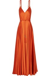 Catherine Deane Elysia Belted Satin Crepe Gown Bright Orange