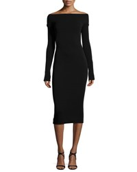 Narciso Rodriguez Off The Shoulder Long Sleeve Sheath Dress Black