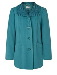 Eastex Teal Check Collar Coat Turquoise