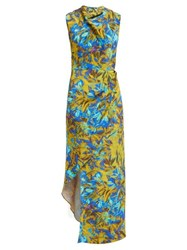 Raey Cowl Neck Asymmetric Uv Floral Print Silk Dress Blue Print
