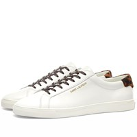 Saint Laurent Andy Signature Leopard And Pony Sneaker White