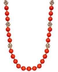 Inc International Concepts Gold Tone Coral Bead And Fireball Necklace