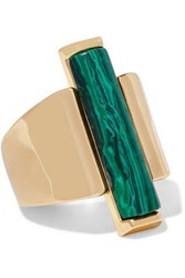 Ben Amun Gold Tone Malachite Ring Gold
