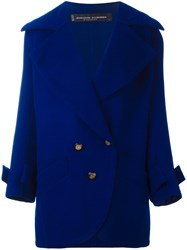Jean Louis Scherrer Vintage Button Front Short Coat Blue