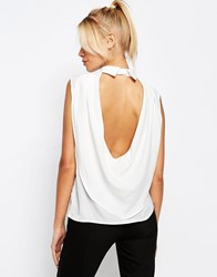 Fashion Union Drape Back Top With Collor On Back White