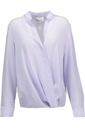3.1 Phillip Lim Wrap Effect Silk Crepe De Chine Blouse Lavender