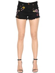One Teaspoon Harlets Embroidered Cotton Denim Shorts