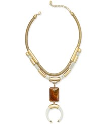 Macy's Gold Tone Multi Layer Stone And Horn Pendant Necklace