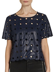 Wells Grace Short Sleeve Faux Leather Eyelet Tee Navy